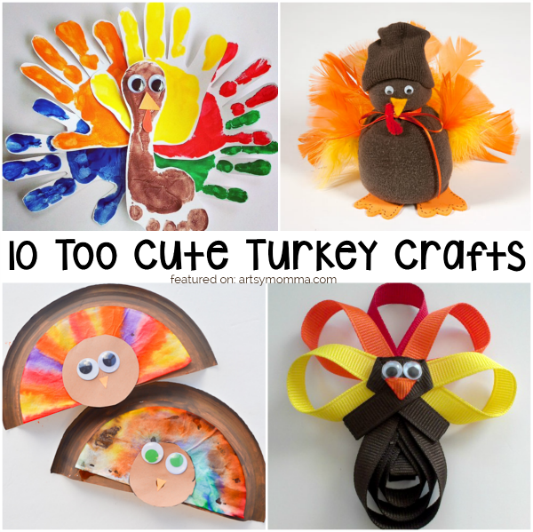 Turkey Crafts for Thanksgiving: handprint footprint turkey, sock turkey, paper plate turkey, ribbon turkey