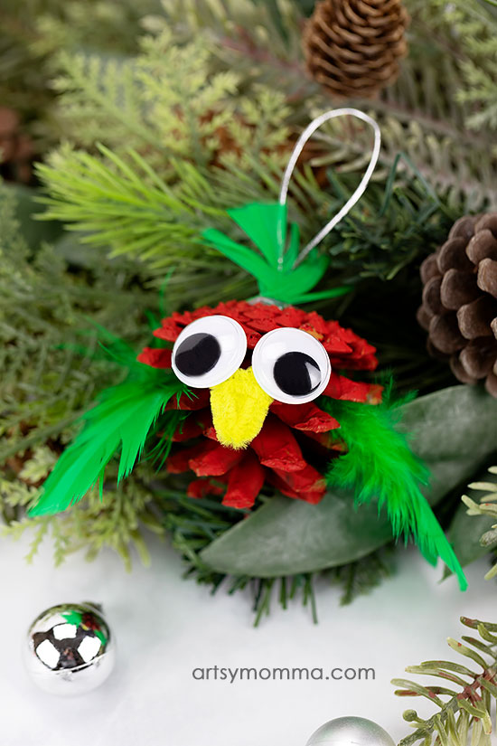 Festive Pinecone Bird Ornament Craft Idea For Christmas
