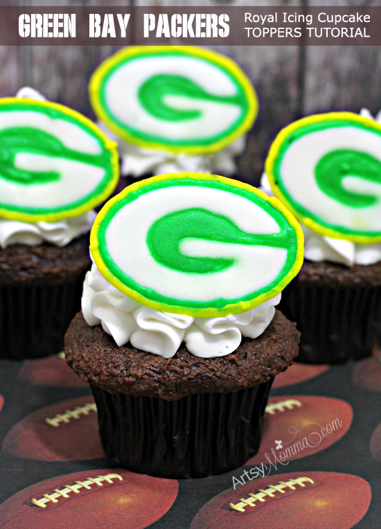Green Bay Packers Royal Icing Cupcake Toppers Tutorial