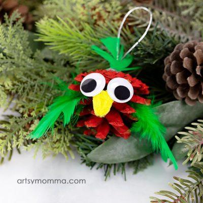 Festive Pinecone Bird Christmas Ornament