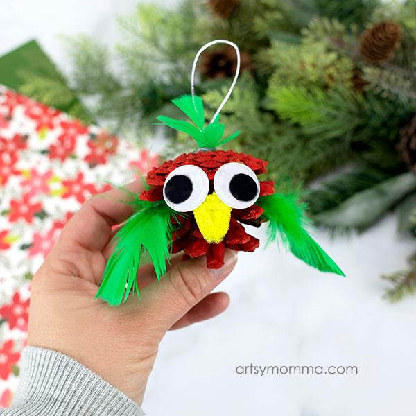 How to make bird ornaments from pinecones with kids for Christmas activity