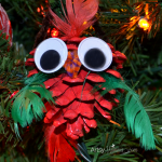 Festive Pinecone Bird Christmas Ornament