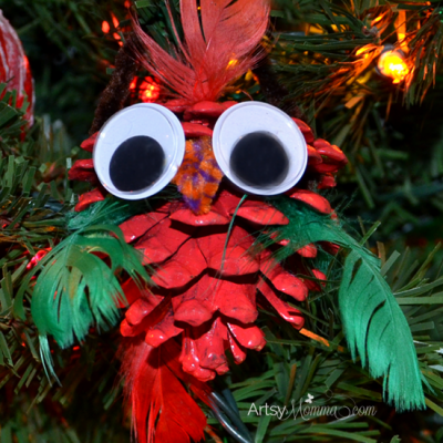 Pinecone Ornament: CHristmas Bird