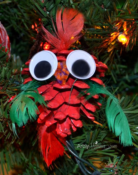 Pinecone Ornament: CHristmas Bird