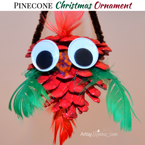 Christmas Pinecone Craft for Kids - Bird Ornament