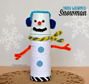 Yarn Wrapped Snowman made from a cardboard tube & k cup