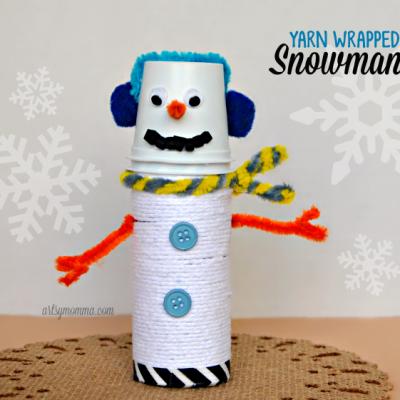Adorable Yarn Wrapped Cardboard Tube Snowman Craft