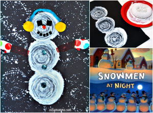 Snowmen At Night Book Extension: Sponge Painted Snowman Craft with a Twist!