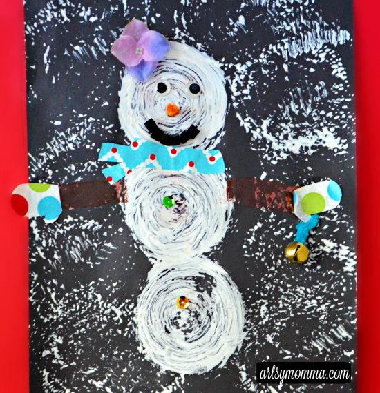 Sponge Painted Snowman Craft