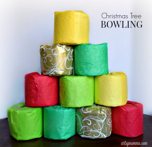 Toilet Paper Roll Christmas Tree Bowling
