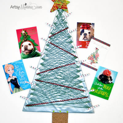 DIY Yarn Wrapped Christmas Tree Card Holder