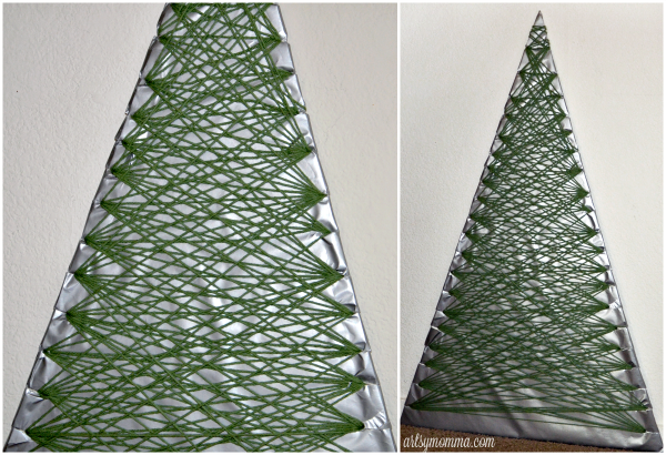 Yarn Wrapped Christmas Tree Card Holder