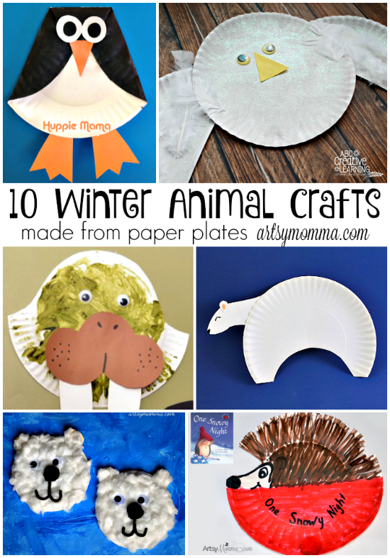 10 Winter Animal Crafts made from Paper Plates