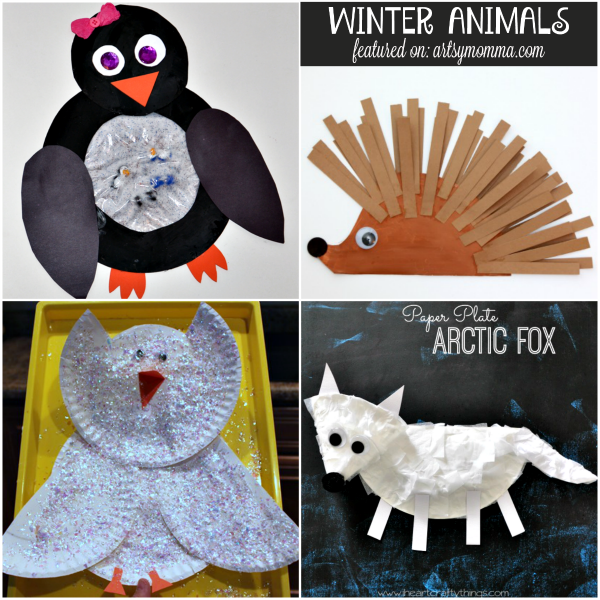 10 Paper Plate Winter ANimal Crafts for Kids
