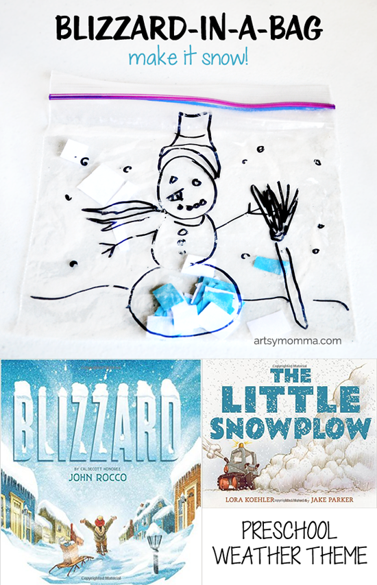 Blizzard-in-a-bag Activity + Preschool Books About Blizzards