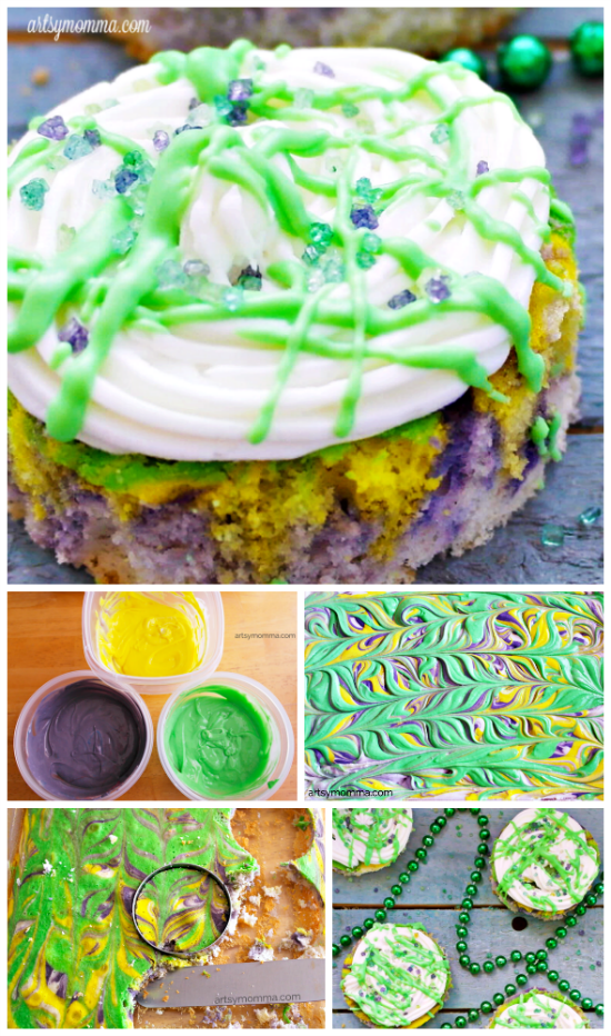Marbled Purple, Yellow & Green Mardis Gras Mini Cakes