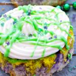 Fun Mardi Gras Mini Cakes – Swirled Purple, Green, and Yellow!