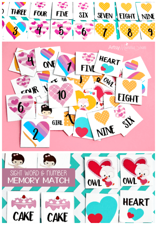 Heart Memory Match Activity: Sight Word & Number Activities for Preschoolers