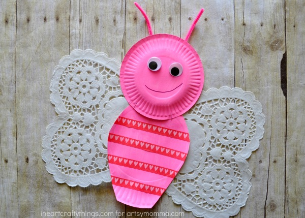 Valentine's Day Paper Plate Butterfly Kids Craft