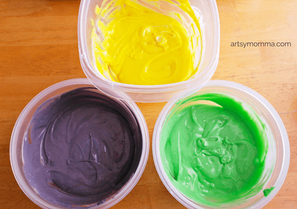 Swirled Purple, Yellow & Green Cake Batter