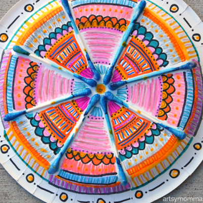 Paper Plate Mandala Craft Using Colored Q-Tips – Creative Kids