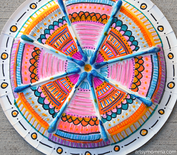 Easy Mandala Craft for Kids Using Q-Tips