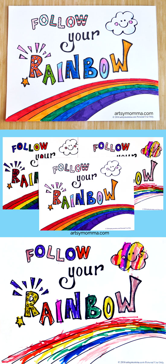 Follow Your Rainbow Coloring Printables - When I Grow Up Theme
