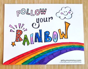Follow Your Rainbow Coloring Page Printable for Kids