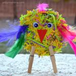 Shredded Paper CD Bird Craft for Preschoolers