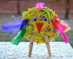 Shredded Paper CD Bird Craft for Preschoolers