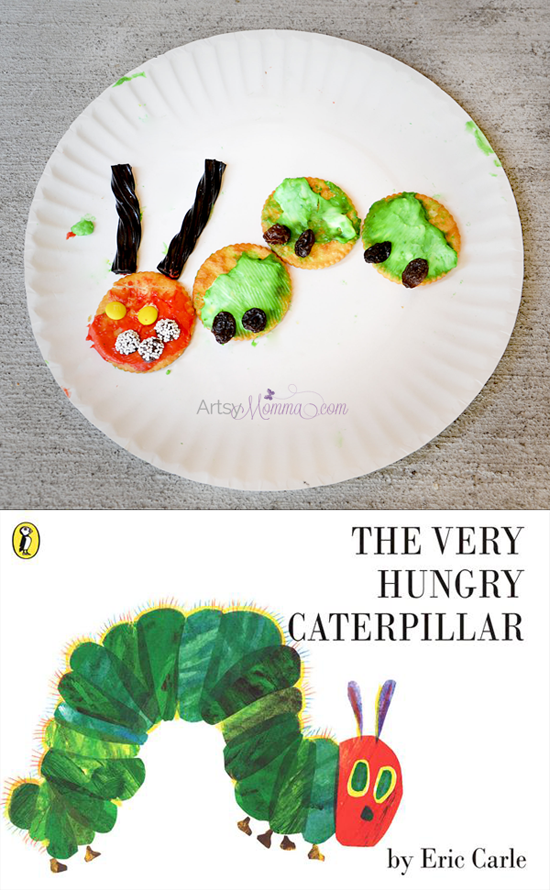 Make a Caterpillar Cracker Snack to go along with The Very Hungry Caterpillar by Eric Carle