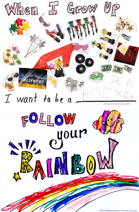 When I Grow Up Collage & Follow Your Rainbow Printable