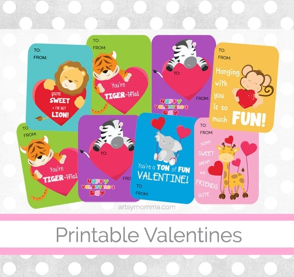 graphic about Printable Valentines for Kids known as Lovely Animal Valentines Yourself Can Print - Artsy Momma
