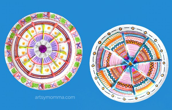 Colored Q-Tip Mandalas Made Using Paper Plates