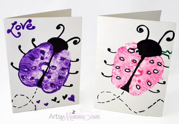 Apple Print Ladybugs - Creative Card Idea