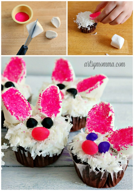 Making Ears for Easter Bunny Cupcakes