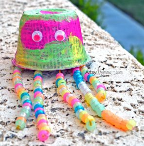 Recycled Jellyfish Craft Using Glow-in-the-dark Beads