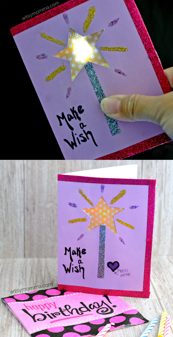 'Make a Wish' Light Up Birthday Card featuring Chibitronics