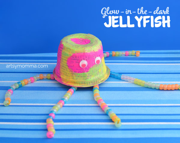 Glow-in-the-dark Jelly Fish Recycled Craft Idea for Kids