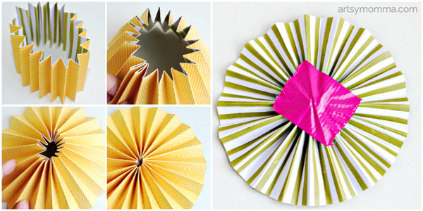 How to make paper rosette birds artsy momma how to fold a paper rosette circle craft mightylinksfo Choice Image