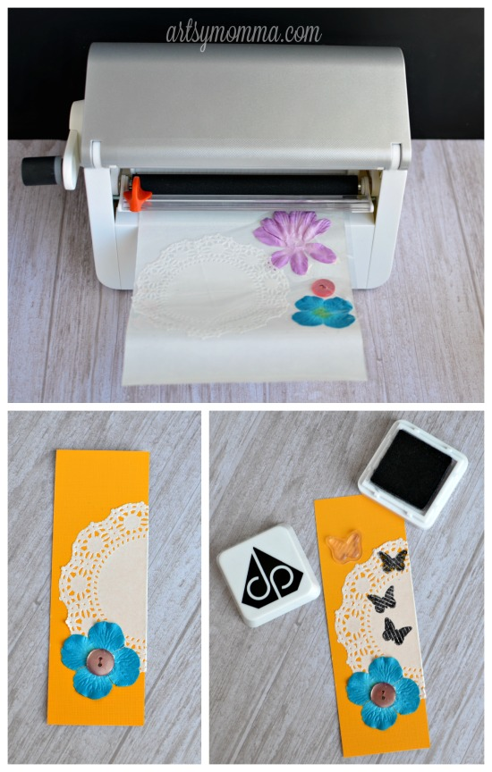 Stamped Bookmark Craft Idea using Doilies