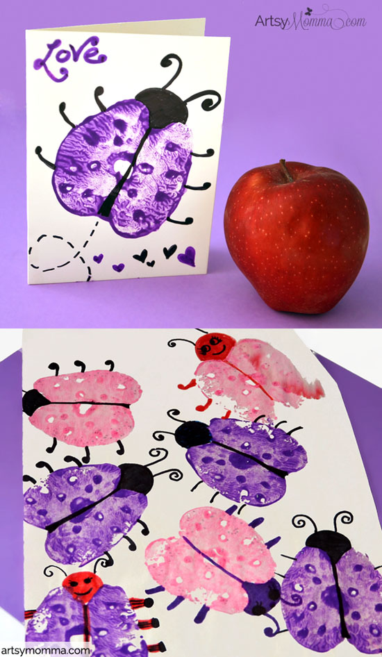 Apple Print Ladybugs - Card & Craft Idea for Kids