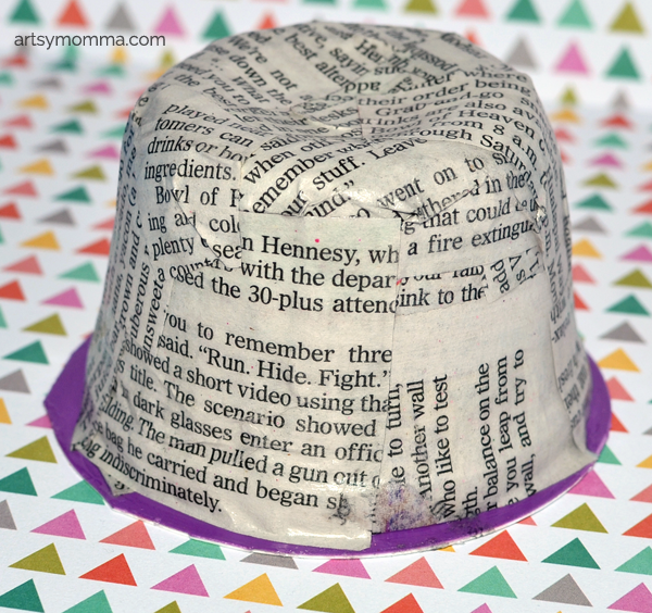 Upcycled Yogurt Container - Recycled Newspaper Craft