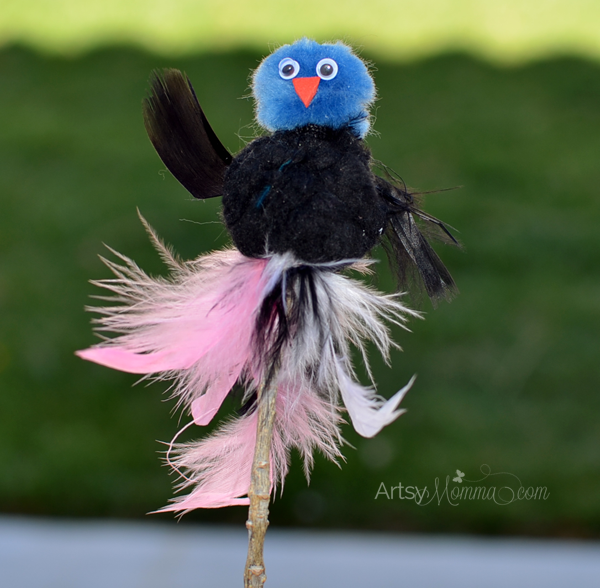 Adorable Pom Pom Bird Puppet Craft