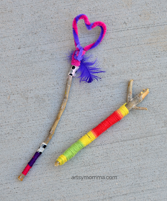 DIY Stick Toys: Wrapped Stick Wands