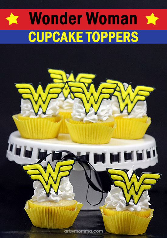 DIY Wonder Woman Cupcake Toppers with Royal Icing - Perfect for a party dessert!