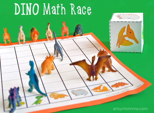 Dino Math Race for Preschoolers - Printable Game