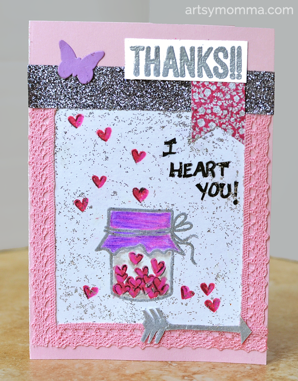 Stamped Heart Filled Jar Card - Mother's Day, Valentine's Day