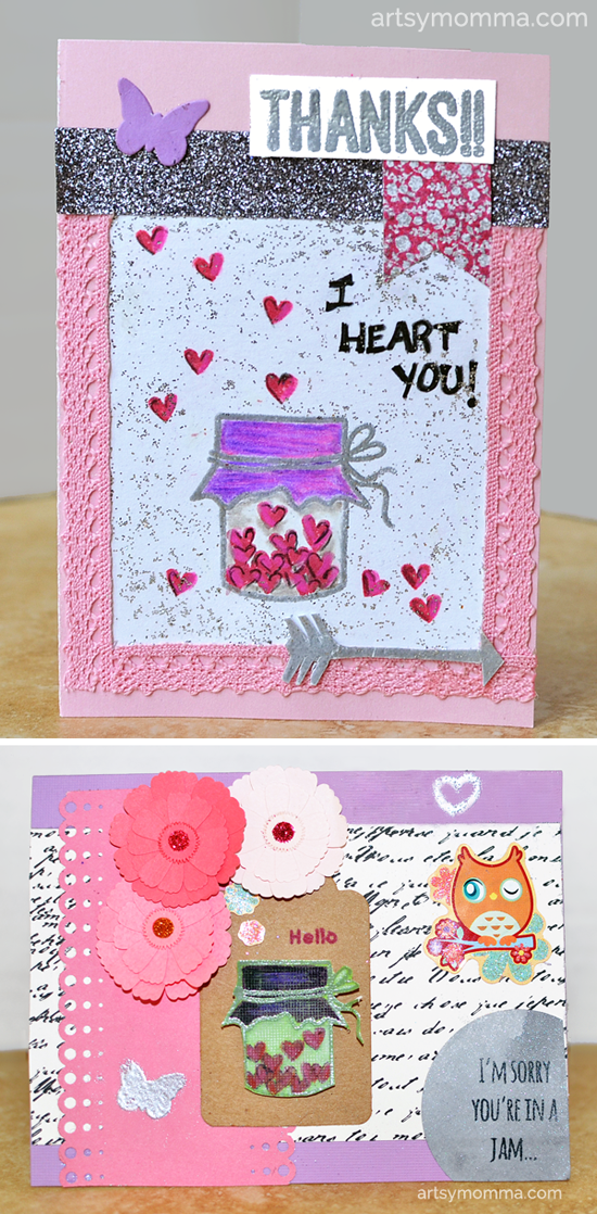 Heart-Filled Jar Stamp Cards