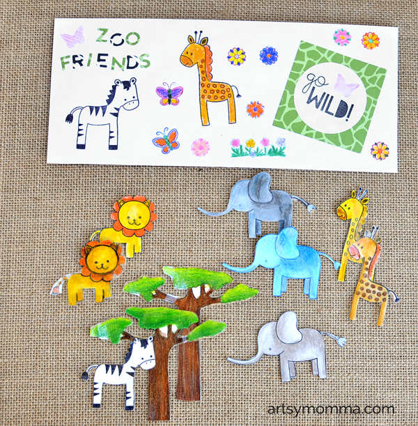 Laminated Stamped Zoo Friends - DIY Playdough Kit